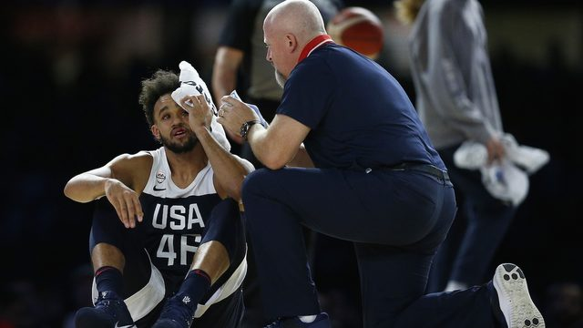 WATCH: Spurs guard Derrick White takes nasty fall, officially named to US roster