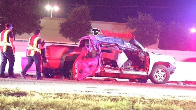Two people in hospital after truck nose-dives into Loop 410