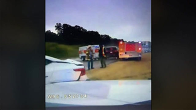 Dramatic video shows U-Haul slam into firefighters after hydroplaning