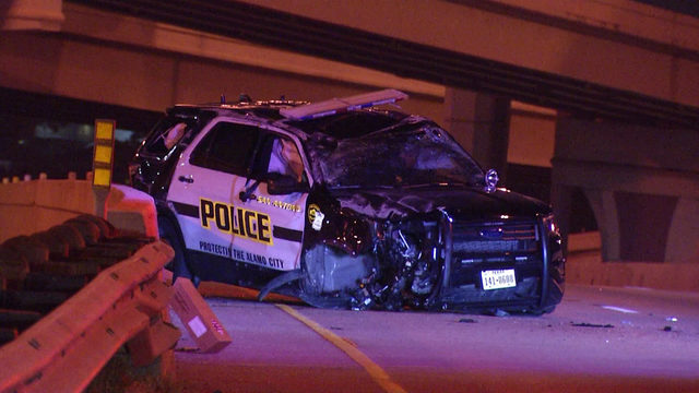 Rollover crash sends SAPD officer to hospital, police say