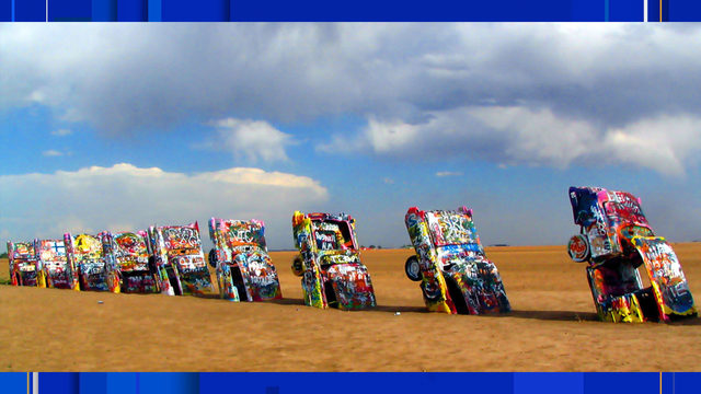 Oldest Cadillac set on fire at famed Texas landmark Cadillac Ranch