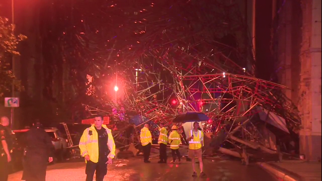 Large scaffolding collapses downtown; high winds blamed