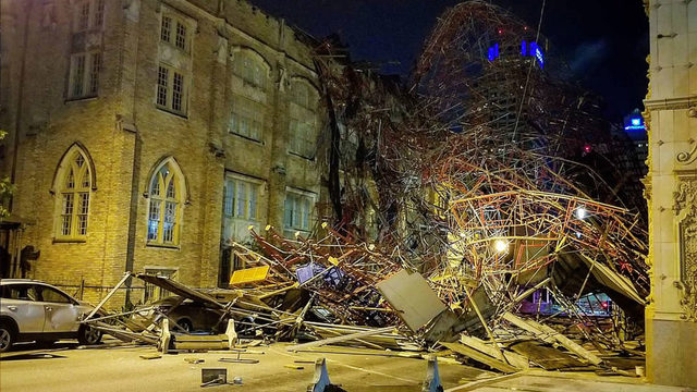 100-foot scaffolding collapses in downtown San Antonio; high winds blamed