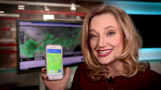 Sarah Spivey shows off the new interactive radar feature on the new KSAT…
