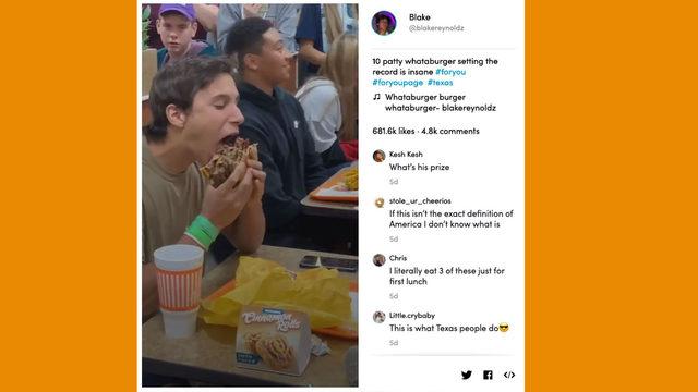 TikTok video of North Texas teen eating 10-patty Whataburger is a true gem