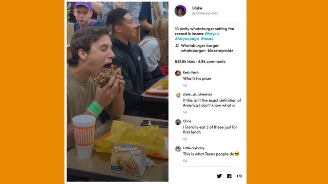 TikTok video of North Texas teen eating 10-patty Whataburger is a true gem